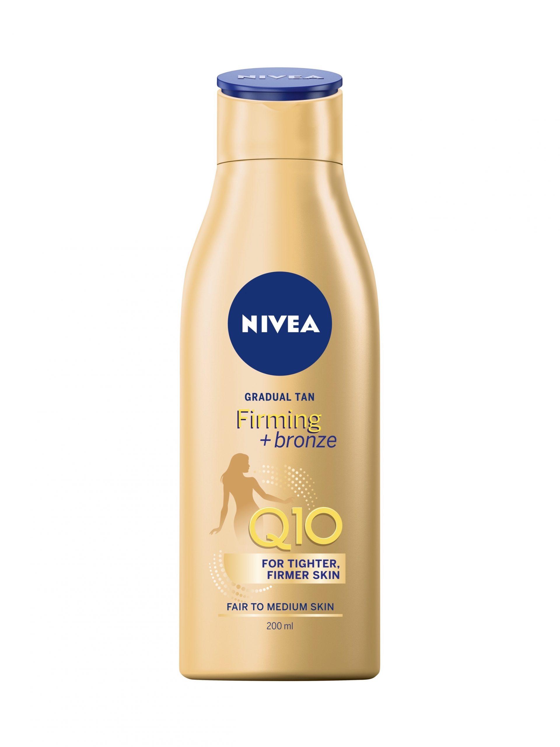 Päivettävä, vähitellen itseruskettava Nivea Q10 Firming Bronze -vartalovoide