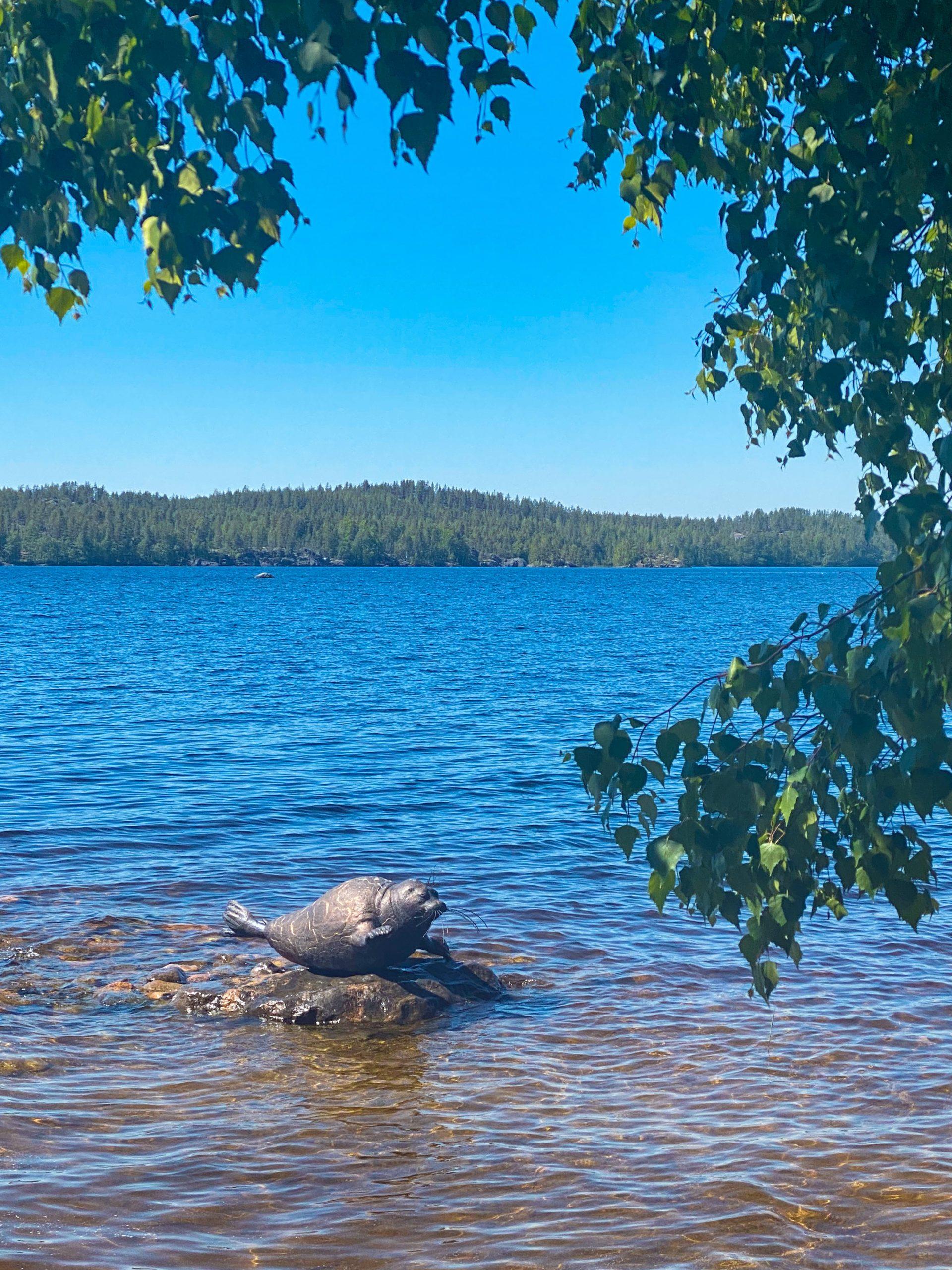 Norppa-patsas järvessä